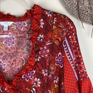 •Time And Tru• Bohemian Mixed Print Peasant Top